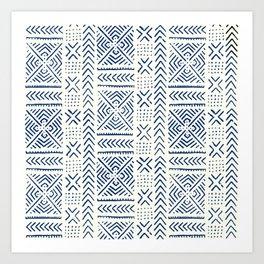 Line Mud Cloth // Ivory & Navy Art Print