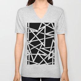 Interlocking White Star Polygon Shape Design Unisex V-Neck