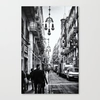 barcelona Canvas Prints featuring Barcelona  by Monochrome by Juste Pixx