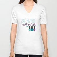 nail polish V-neck T-shirts featuring Too much nail polish by forgottenLexi
