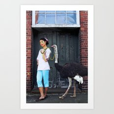 Rein It In - Ostrich Oda Art Print