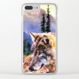 Wolf Watercolor (Color) Clear iPhone Case