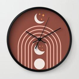 Midcentury Moon Phase Rainbow Wall Clock