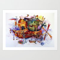 france Art Prints featuring France by oxana zaika