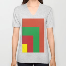 Very squared and precise and rectangular. Very very angular crafted shapes. Nothing else to say. Unisex V-Neck