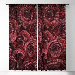 Red Roses Circle Mosaic Design Blackout Curtain