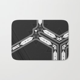 Abstract  Black and White Multi Pattern Bath Mat
