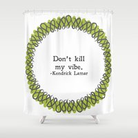 kendrick lamar Shower Curtains featuring Floral - My Vibe by K&C Design