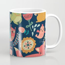 Forest friends - navy Coffee Mug