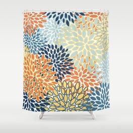 Modern, Floral Prints, Orange, Blue, Yellow Shower Curtain