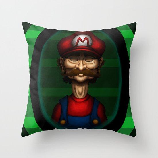 Sad Mario Throw Pillow