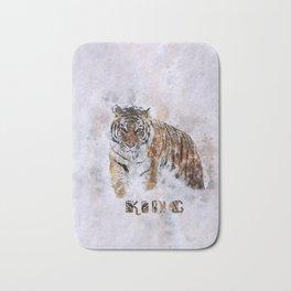 KING watercolor Siberian Tiger Bath Mat