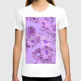 Pinkish Lilac Color Purple Daisy Flowers Garden T-shirt