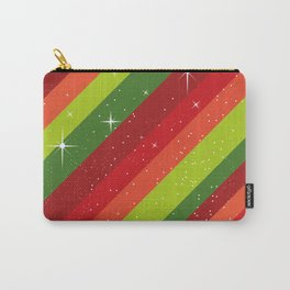 Christmas Pattern, Green, Red, Stars, Snowflakes Carry-All Pouch