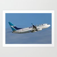 Westjet Boeing 737-700 Sunrise departure Art Print