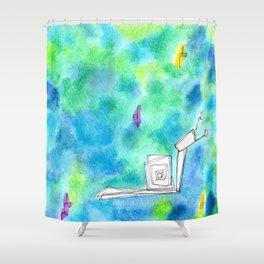Rain Makes A Rainbow no.0 - watercolor illustration green blue Shower Curtain