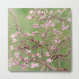 "Van Gogh's ""Almond blossoms"" with green background Metal Print"