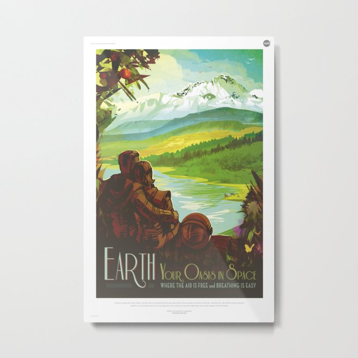 Earth Retro Space Poster Metal Print