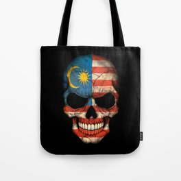 Dark Skull with Flag of Malaysia Tote Bag