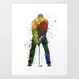 man golfer putting silhouette Art Print