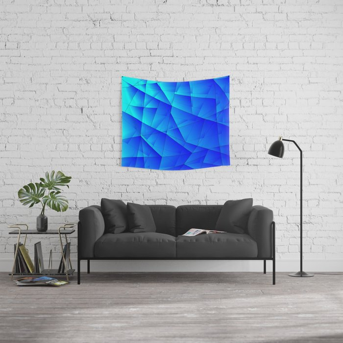 Bright sea pattern of heavenly and blue triangles and irregularly shaped lines. Wall Tapestry
