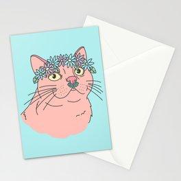 Flower crown spring festival boho septum grunge girly kitty cat Stationery Cards