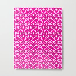 Paw Prints on my Heart - in Magenta Metal Print