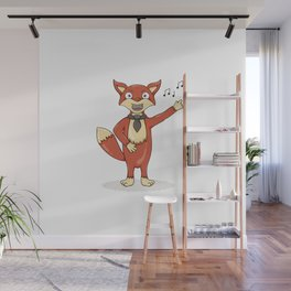 Red fox singing song with black tie. Wall Mural