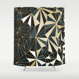 New Art Deco Geometric Pattern - Emerald green and Gold Shower Curtain