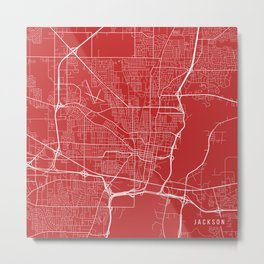 Jackson Map, USA - Red Metal Print