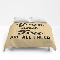 Yoga And Tea Funny Quote Comforters
