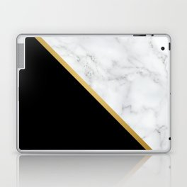 Marble, Black, White, Gold, Abstract Color Block Laptop & iPad Skin