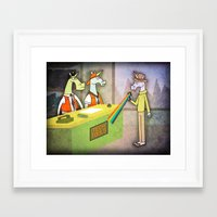 hologram Framed Art Prints featuring Rainbow Hologram Unicorn by That's So Unicorny