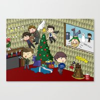 superwholock Canvas Prints featuring SuperWhoLock Christmas by Rebecca McGoran