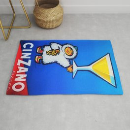 1950 Cinzano Vermouth Bianco Vintage Advertising Poster Rug
