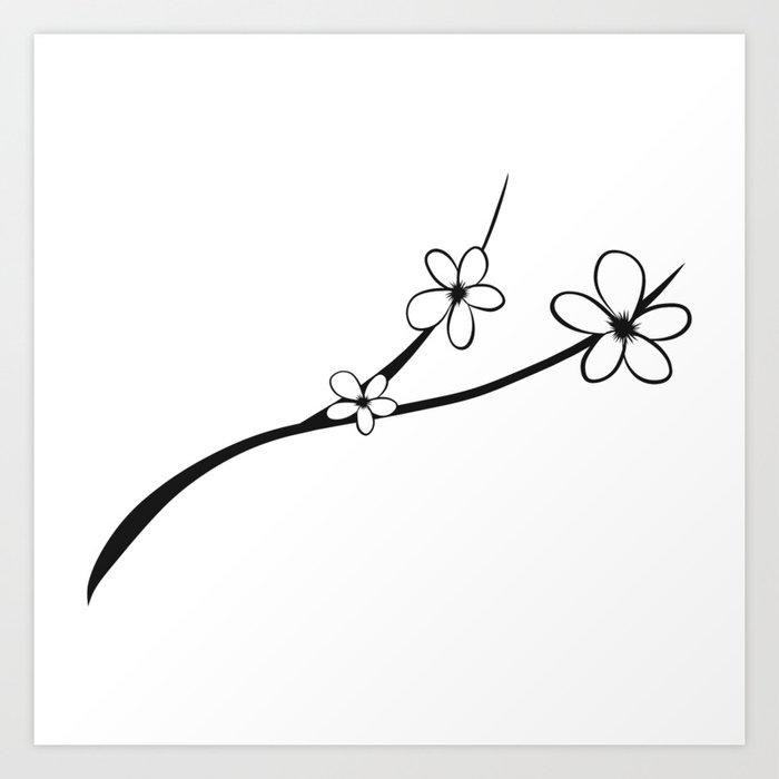 Black white noir japanese cherry blossom flower art art print by black white noir japanese cherry blossom flower art art print mightylinksfo