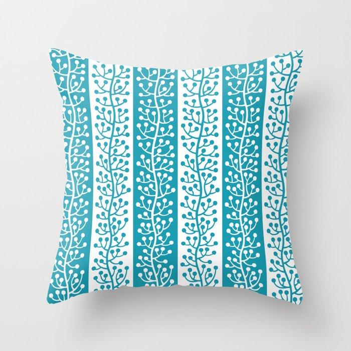 Mid Century Modern Berry Vine Stripes Turquoise Throw Pillow