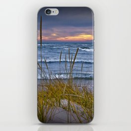 Sunset Photograph of a Dune with Beach Grass at Holland Michigan No 0199 iPhone Skin