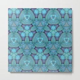 Cyan & Lavender Pattern Metal Print