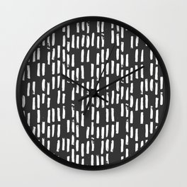 Brush Up Rain (White on Charcoal) Wall Clock