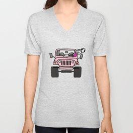 Jeep Wave Pink - Girl Unisex V-Neck
