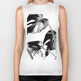 Black monstera leaves watercolor Biker Tank