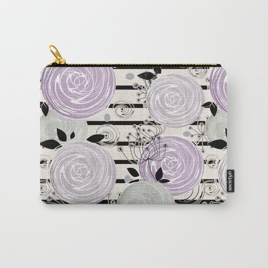 Abstract floral pattern in gray , purple tones Carry-All Pouch