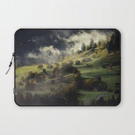 Mountain Village Swept in Fog Laptop Sleeve