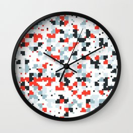The accent color - Random pixel pattern in red white and blue Wall Clock