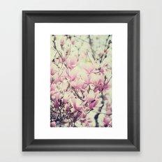 Purple Magnolia Blossoms Spring Botanical Framed Art Print