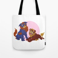 pit bull Tote Bags featuring Pit Bull Shisa Guardians by AlliePets
