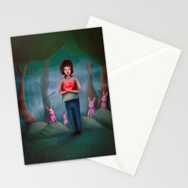 Boy Holding his Big Heart Stationery Cards