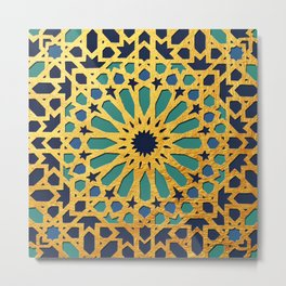 -A1_2- Golden Original Traditional Moroccan Artwork. Metal Print