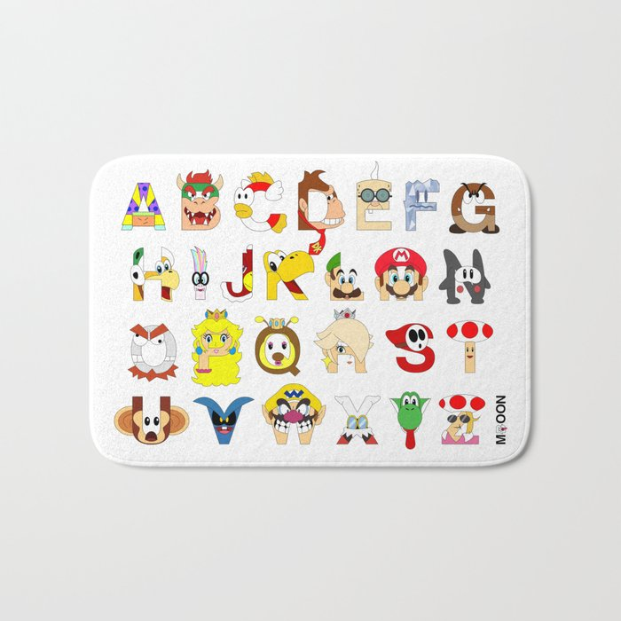 Super Mario Alphabet Bath Mat